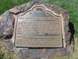 San Francisco colonial history sign at Fisherman's Wharf