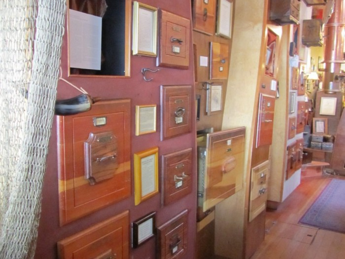 Drawers full of curious piraty things at 826 Valencia