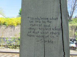 Rhinecliff, NY, Train Station: Sartre Quotation